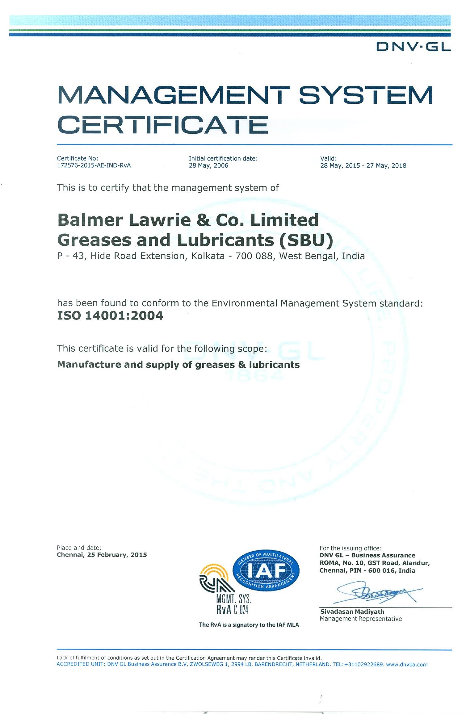 ISO certification 14001:2004