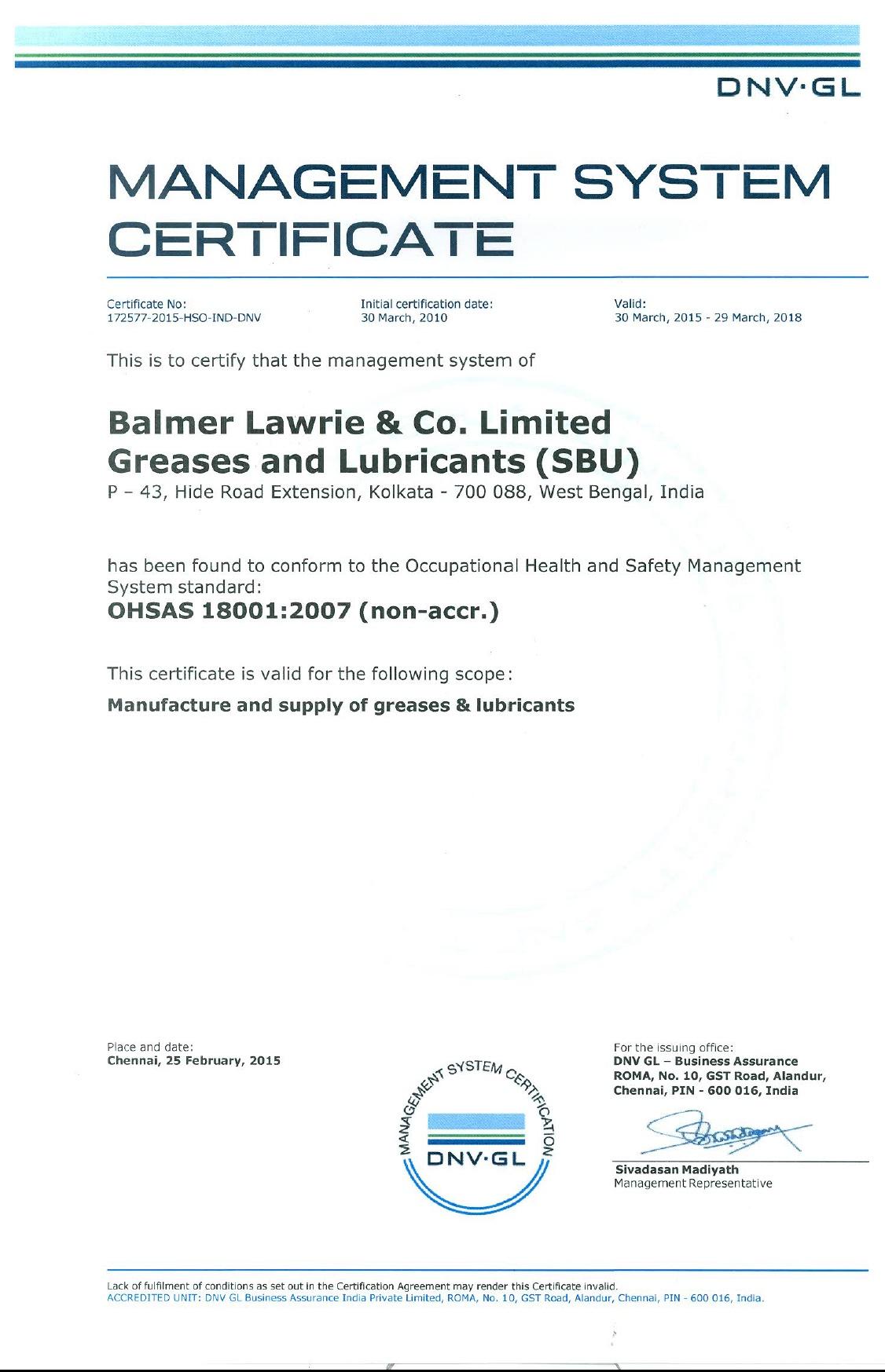 OHSAS certification 18001:2007