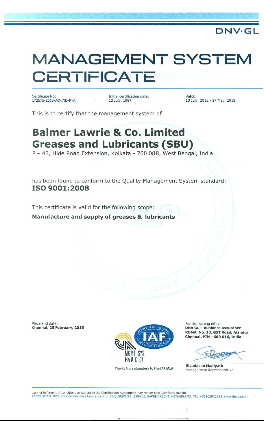 ISO certification 9001:2008